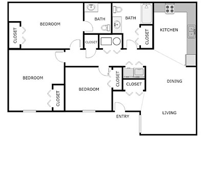 3 Bed, 2 Bath floorplan